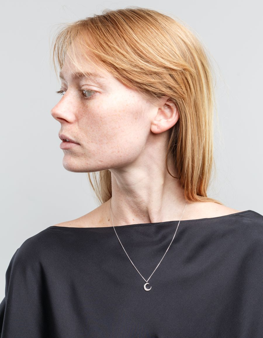 Laura Lee Diamond Cresent Moon Necklace