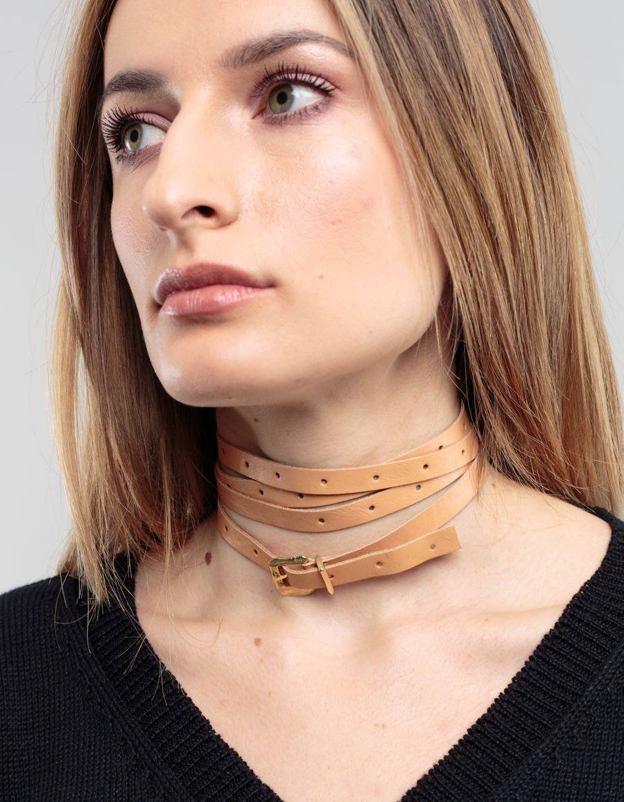 Cornelia Webb	 Wrap Around Leather Choker