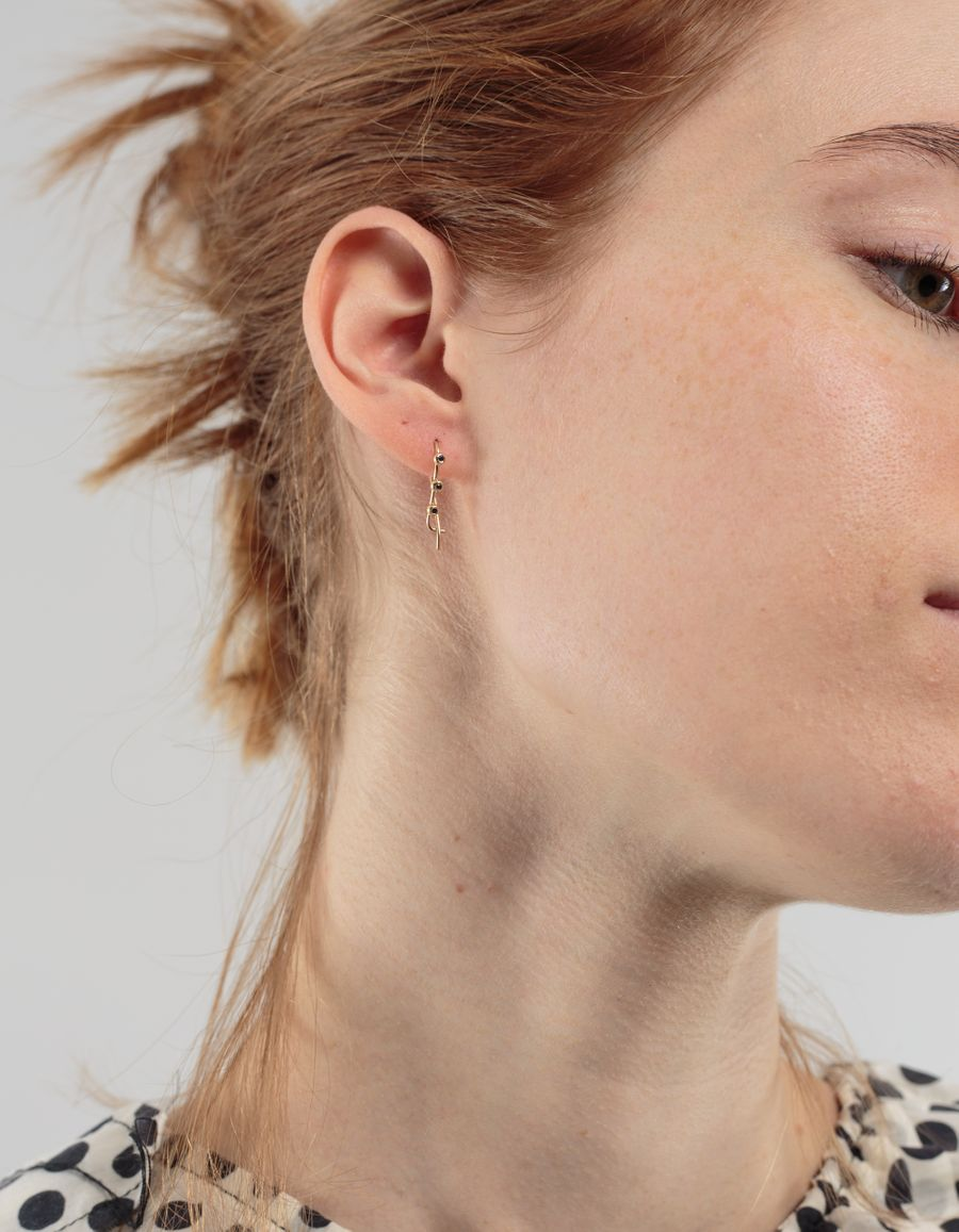 Quarry Jewelry Triptych Sapphire Bump Earring