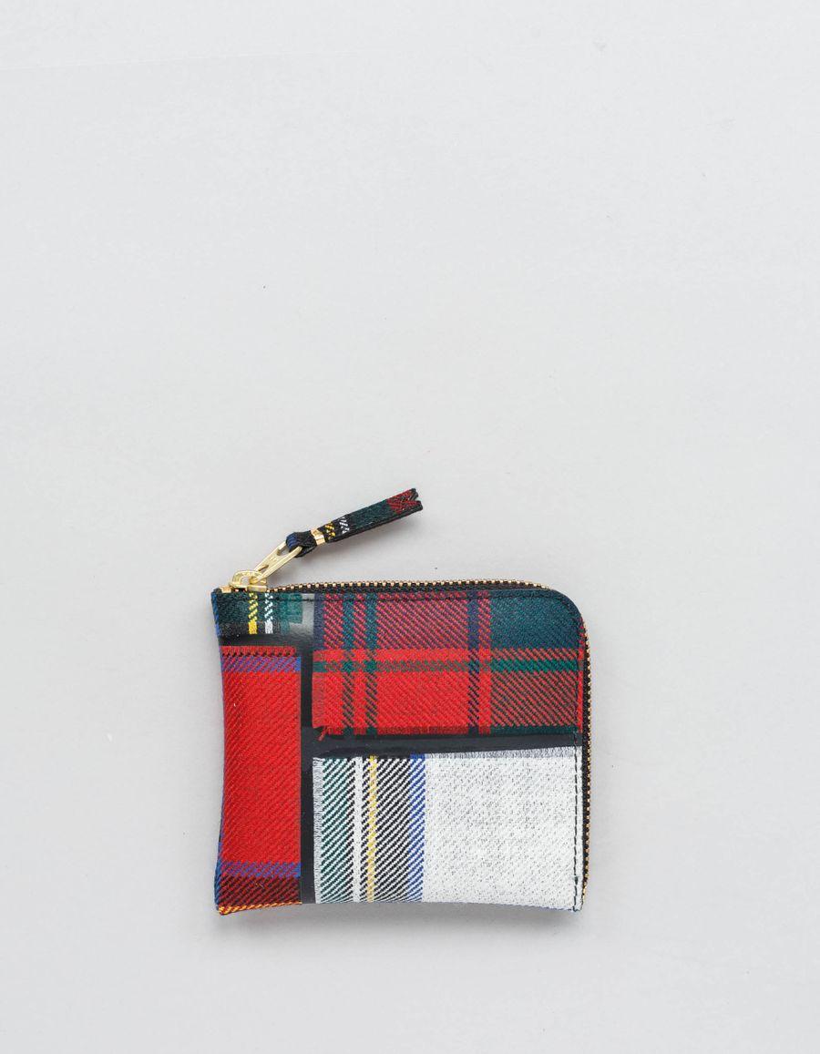 Comme des Garçons Wallet Half Zip Wallet - Tartan