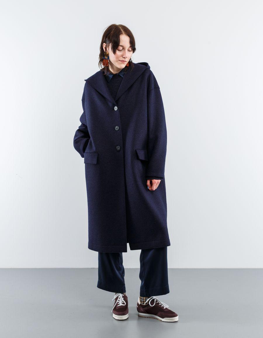 Harris Wharf London Oversized Hooded Wool Coat