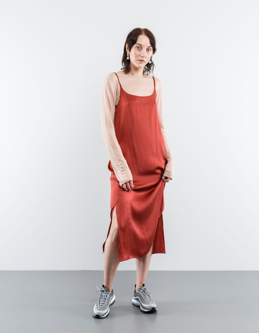 Asceno Long Slip Dress Ochre