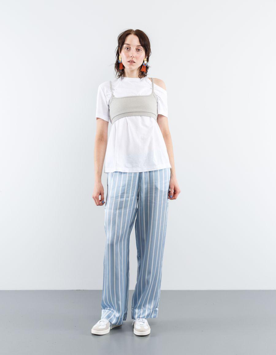 Asceno PJ Bottom Sky Stripe Silk