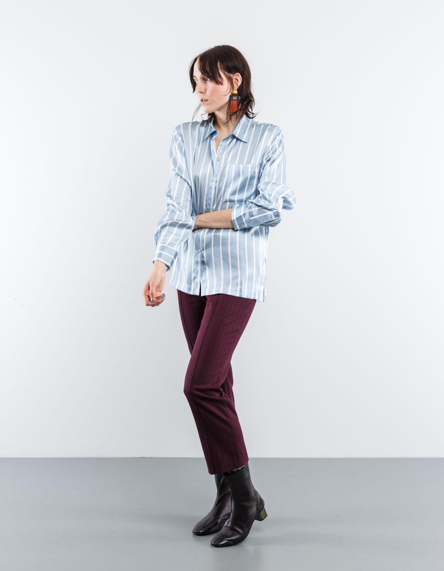 Asceno Silk Shirt Sky Stripe
