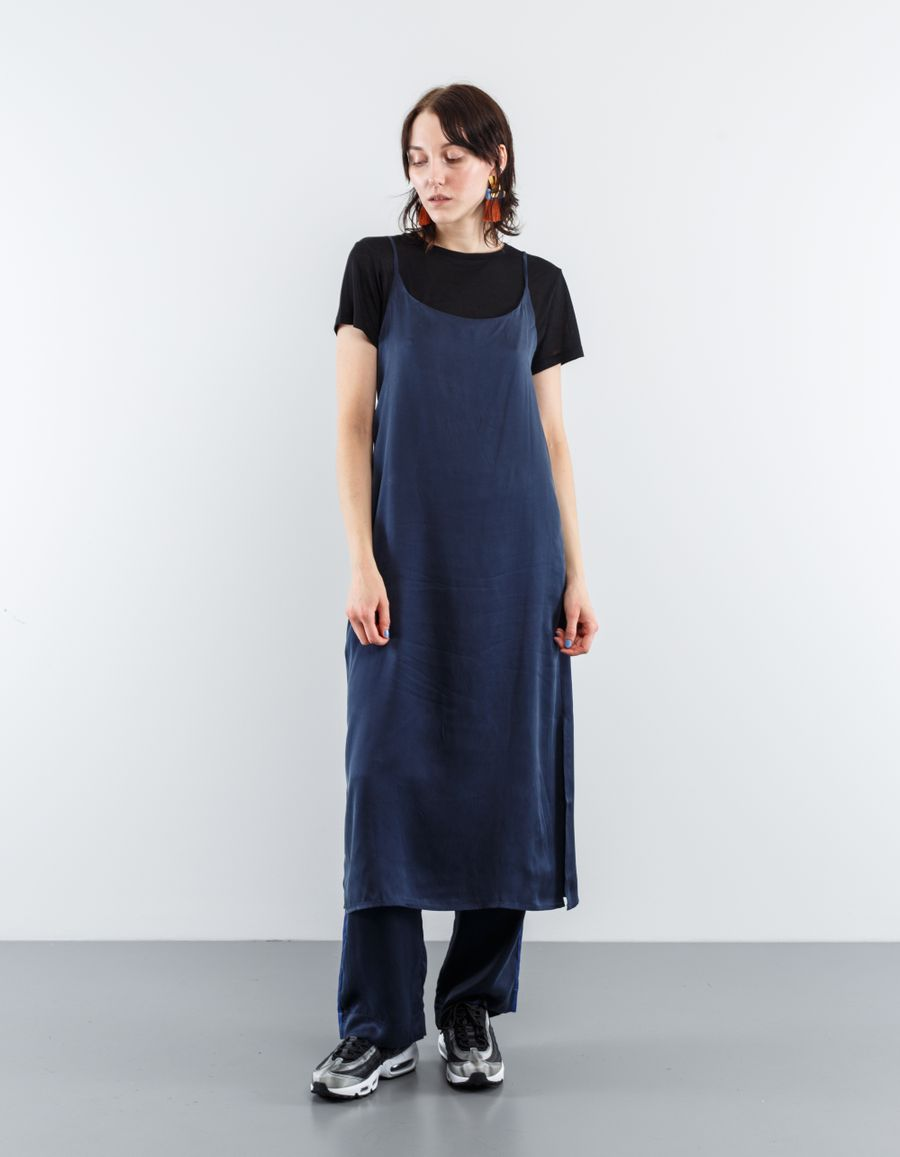 Asceno Long Slip Dress Midnight