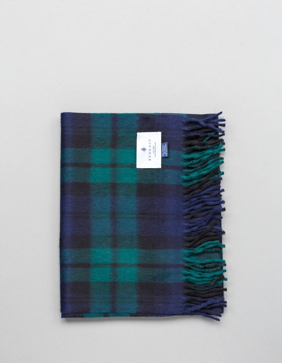Begg & Co Jura LW/Angora Plaid Scarf