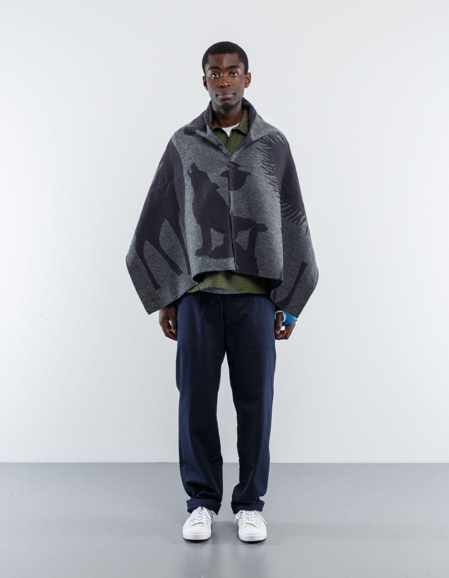 Engineered Garments  Animal Wool Jacq Button Shawl