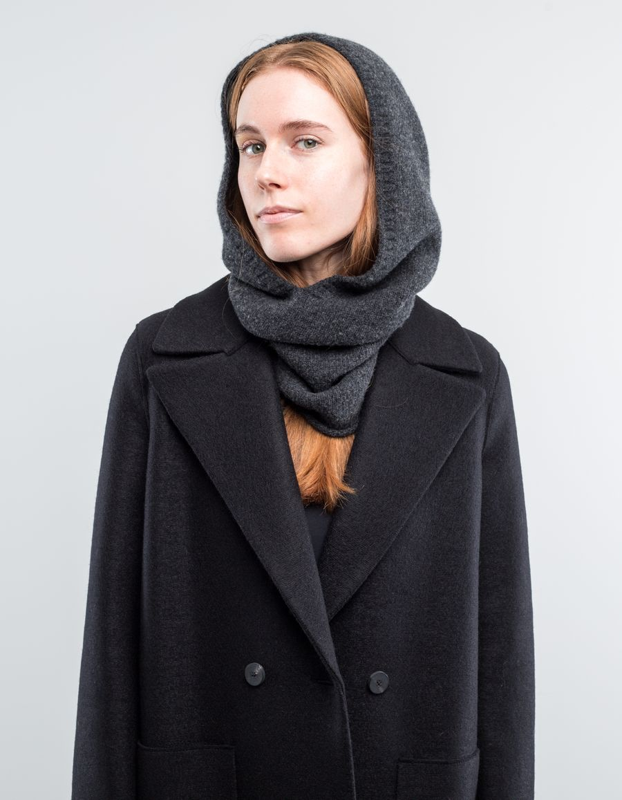 Nitty Gritty Hooded Scarf Cashmere/Wool Grey