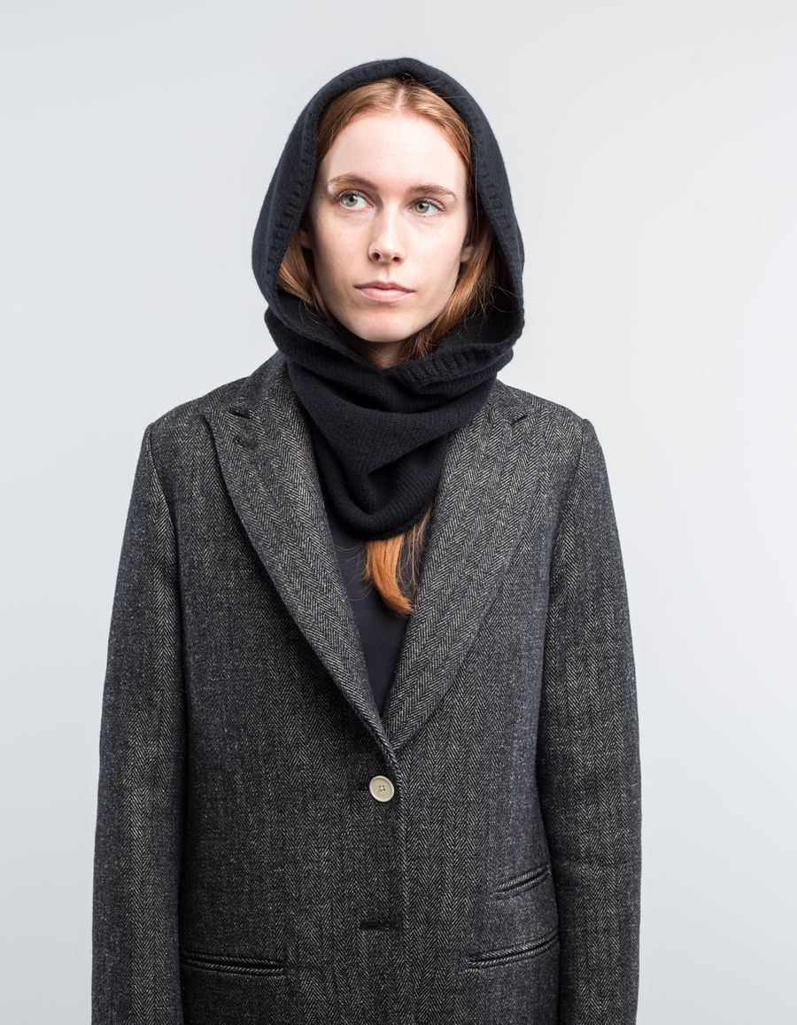 Nitty Gritty Hooded Scarf Cashmere/Wool Black