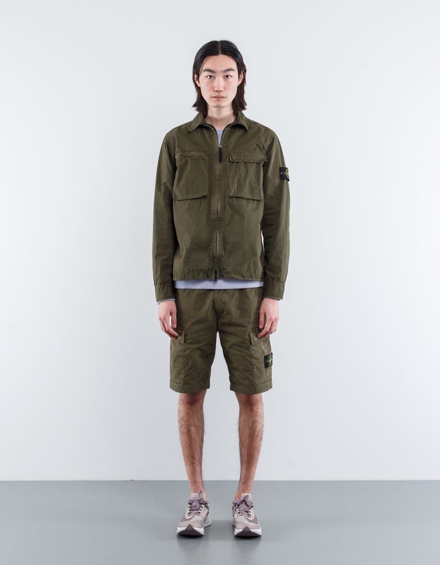Stone Island 6815111WN V0154 Old Effect Washed Overshirt Military Green