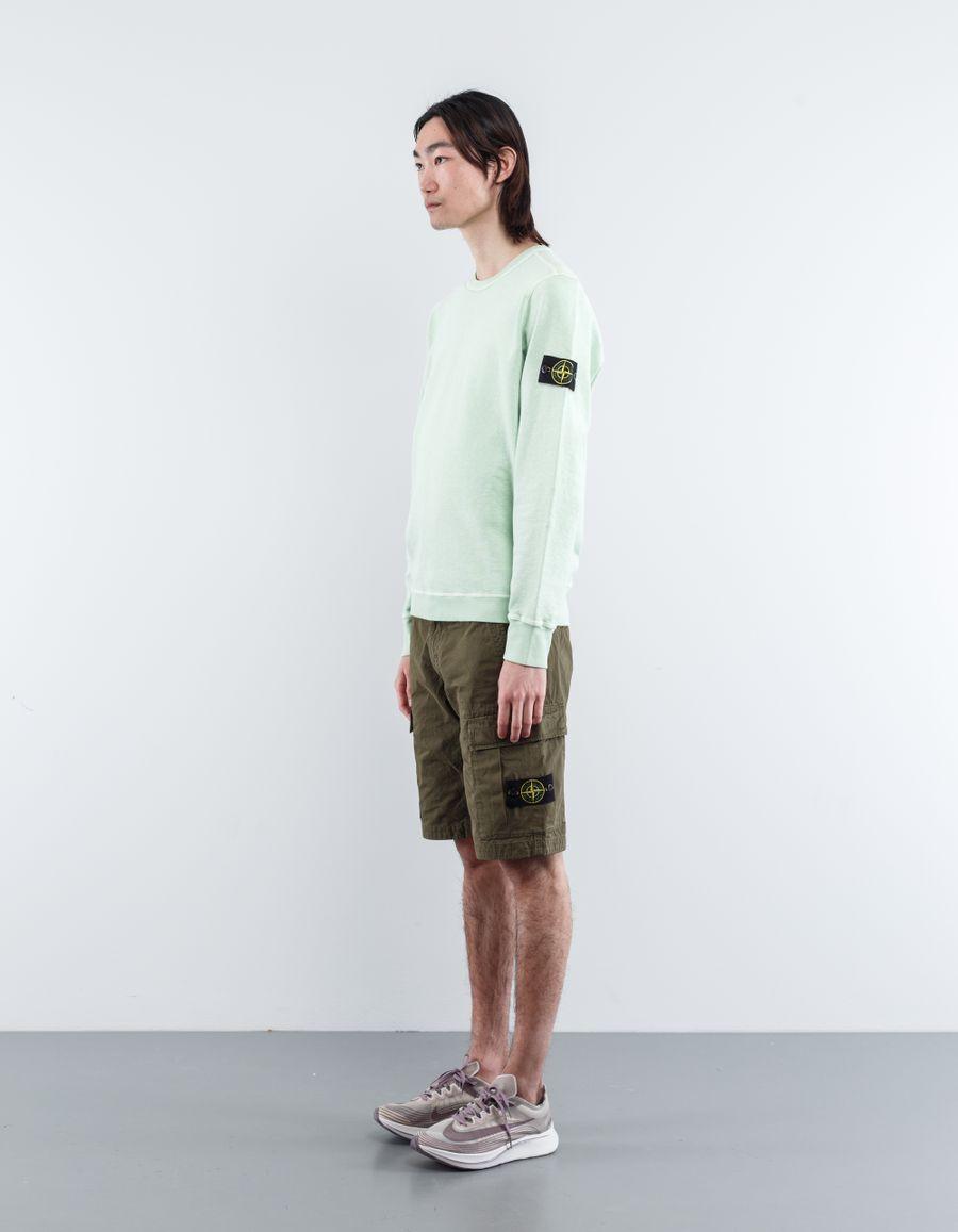 Stone Island 6815LS2WA V0154 Garment Dyed Cargo Bermuda Mi Green