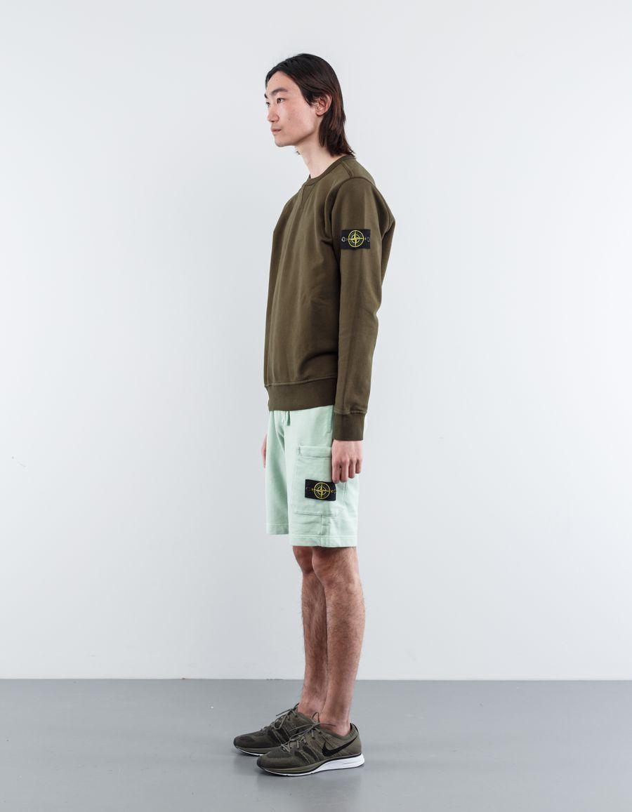Stone Island 681560840 V0052 Fleece Bermuda Shorts Light Green
