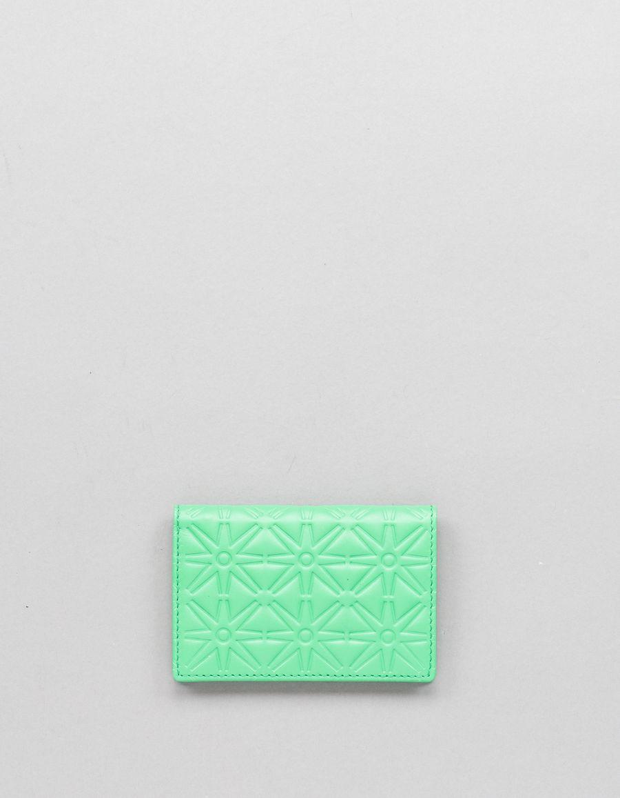 Comme des Garçons Wallet Small Card Case - Stars Green